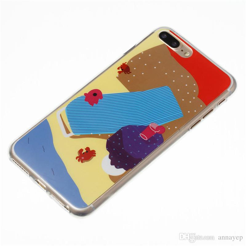 Cover For iPhone 5S 5SE 6S 7 8 Plus Huawei P8 P9 P10Lite Samsung Galaxy J5 J7 2017 Cartoon Cat Beach TPU Soft Case Silicone Plastic Cover