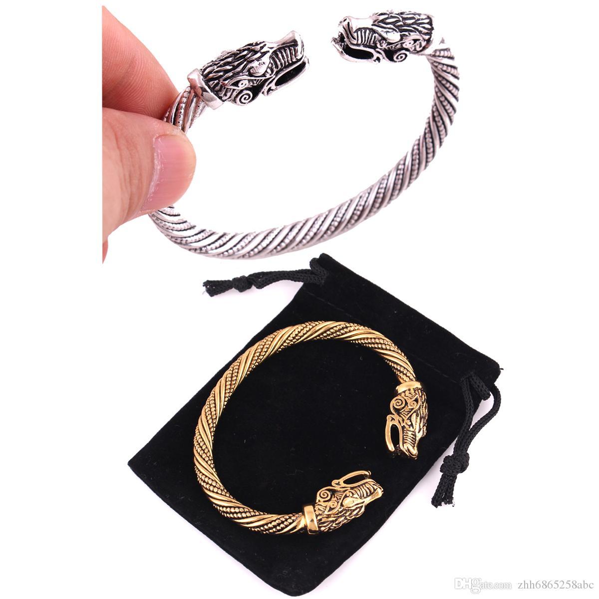 Wicca Amuleto Salomão Pagan Jóias de Prata Ou Ouro Viking Pagan Lobo Gótico Cabeça Estanho Pulseira Jóias Nórdica Totem Viking Pulseira