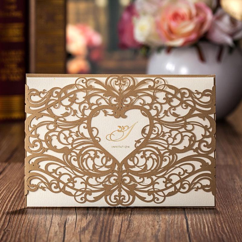 Shimmer Gold Heart Design Pattern Laser Cut Wedding Invitations ...