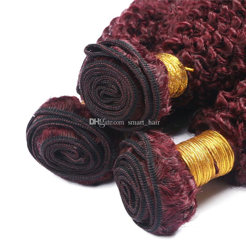 Vin Rouge 99J Kinky Bouclés Cheveux Bundles Bonne Qualité Bourgogne 99J Brésiliens Vierge Cheveux Extension Afro Crépus Bouclés Cheveux Tisse