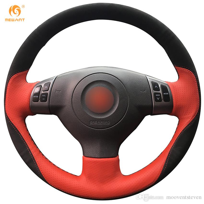 Mewant Red Leather Black Suede Car Steering Wheel Cover For Suzuki