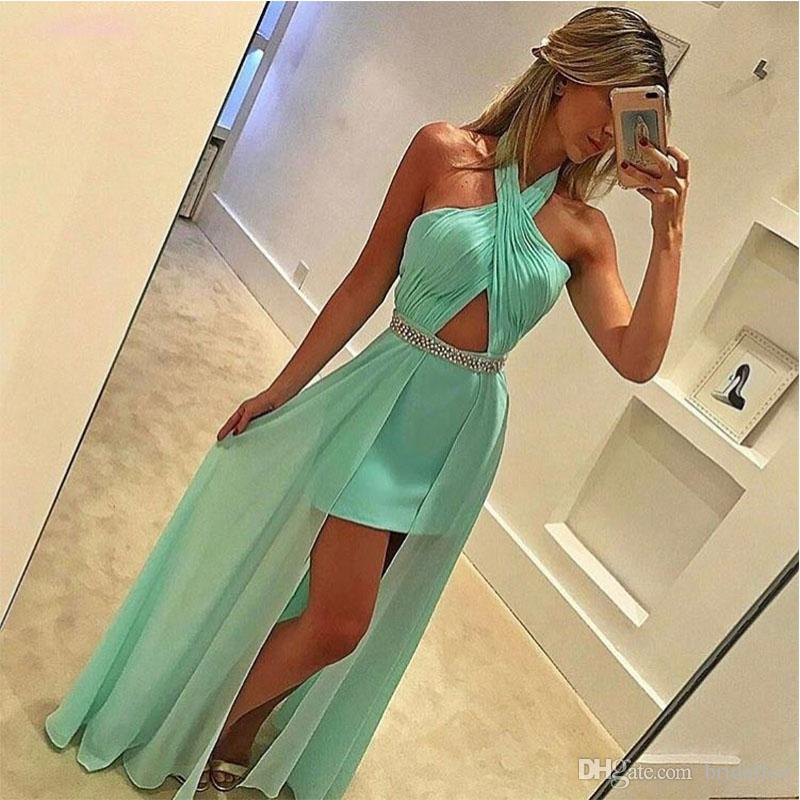 Sexy Prom Dresses Long Party Halter A Line Apple Green Chiffon Long Evening Party Gowns With Sash Beading vestido