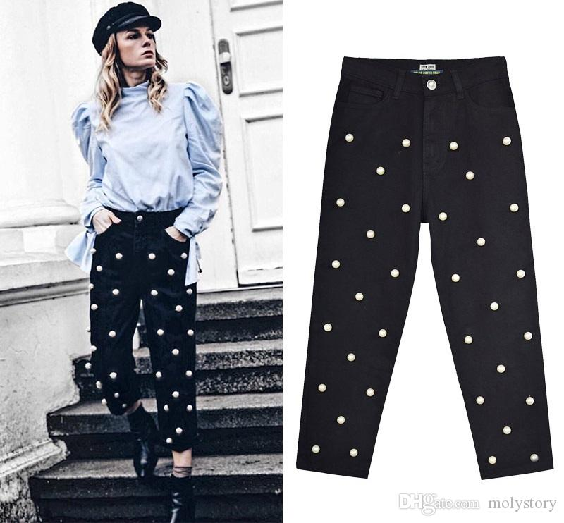 c46275200bb Black Pearl Jeans Women Straight High Waisted Jeans Ladies Plus Size ...