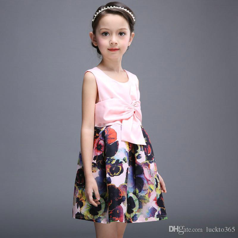 Printed Dress for Baby Girls Bow Knee Length Sleeveless Summer Dress V Neck England Style Children Clothing