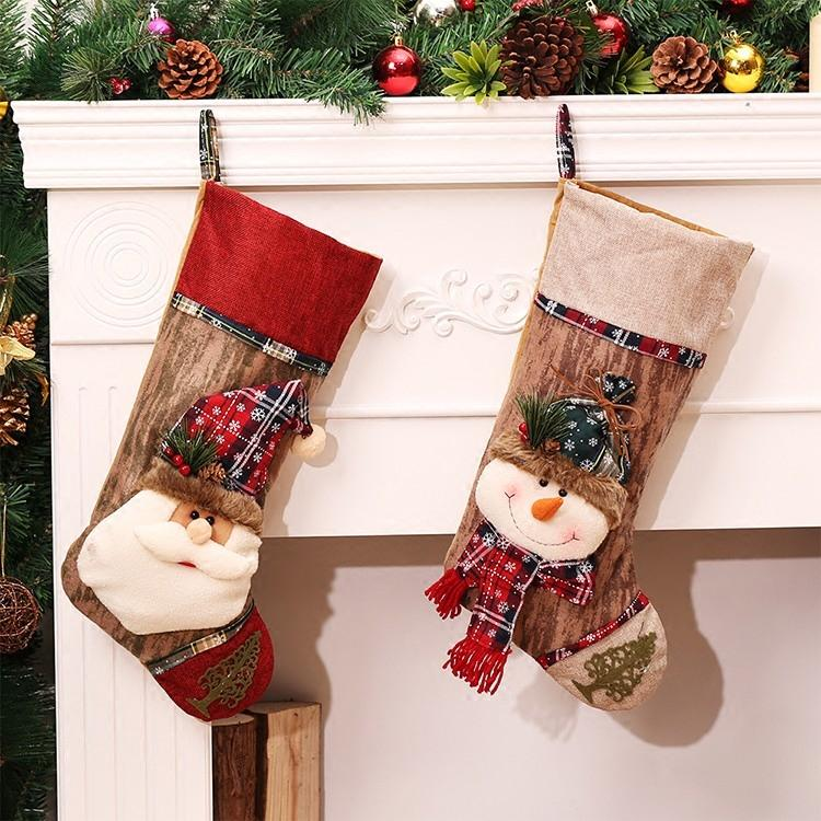 wholesale christmas decoration stocking large long legged plaid christmas stockings gift bags decoration christmas socks candy gift christmas decoration for - Wholesale Large Christmas Decorations