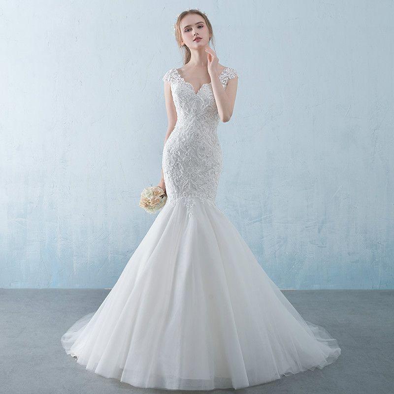 Wedding Dress 2017 Elegant White V Neck Organza Sleevelesss Lace Up ...