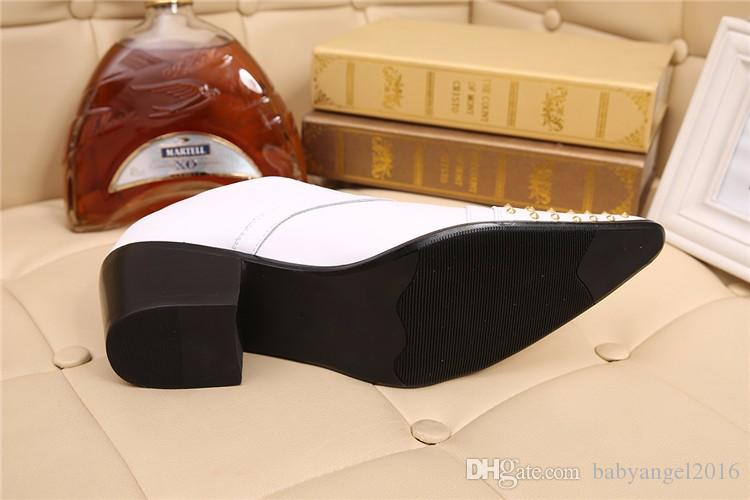 Christia Bella Marque En Cuir Véritable Hommes Richelieus Blanc De Mariage Chaussures Formelles Rivet Business Dress Chaussures Hommes Brogues Appartements