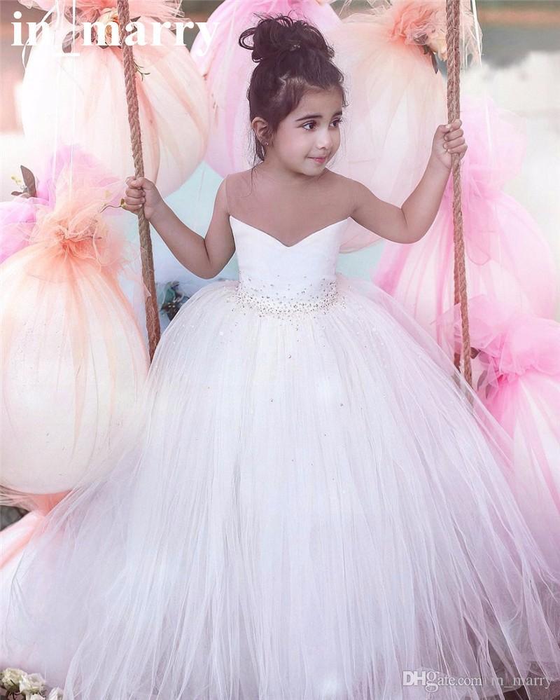 Großhandel Lovely White Ballkleid Blumenmädchen Kleider Für ...