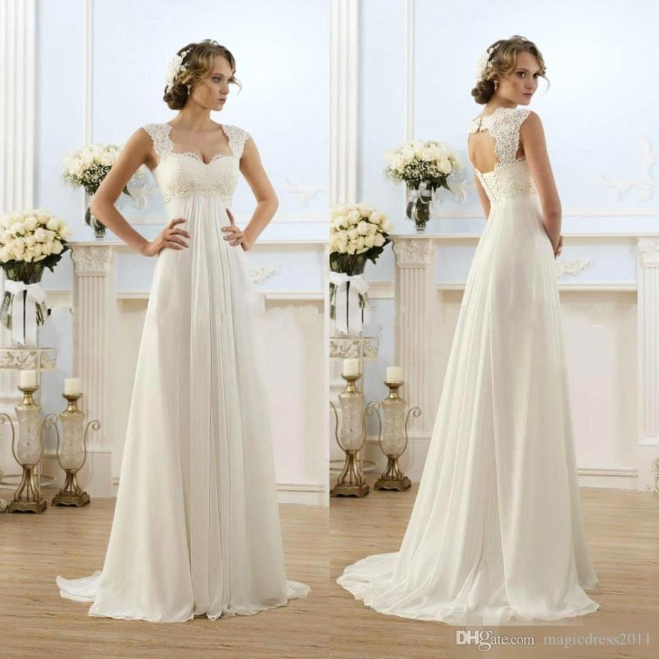 2016 New Romantic Beach A-line Wedding Dresses Cheap Maternity Cap Sleeve Keyhole Lace Up Backless Chiffon Summer Pregnant Bridal Gowns