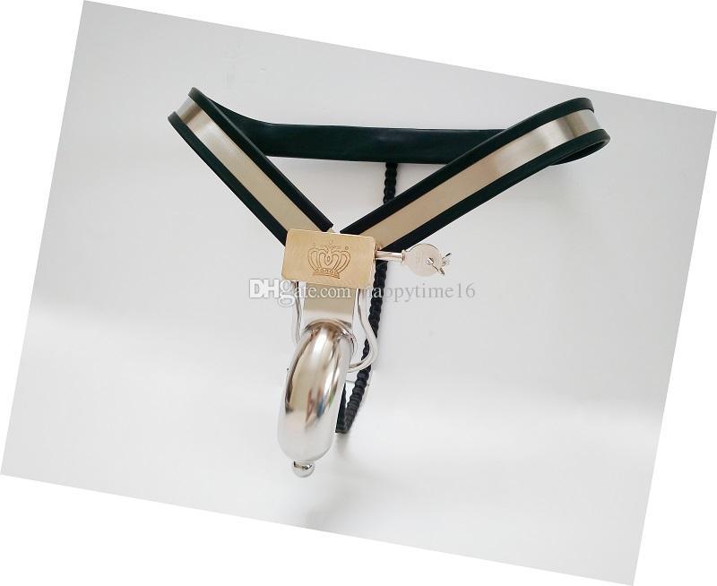 Yeni Varış Tasarım Erkek Iffet Cihazları ile Cock Cage Paslanmaz Çelik Iffet Kemer Iç Çamaşırı bdsm Metal Esaret Seks Oyuncakları