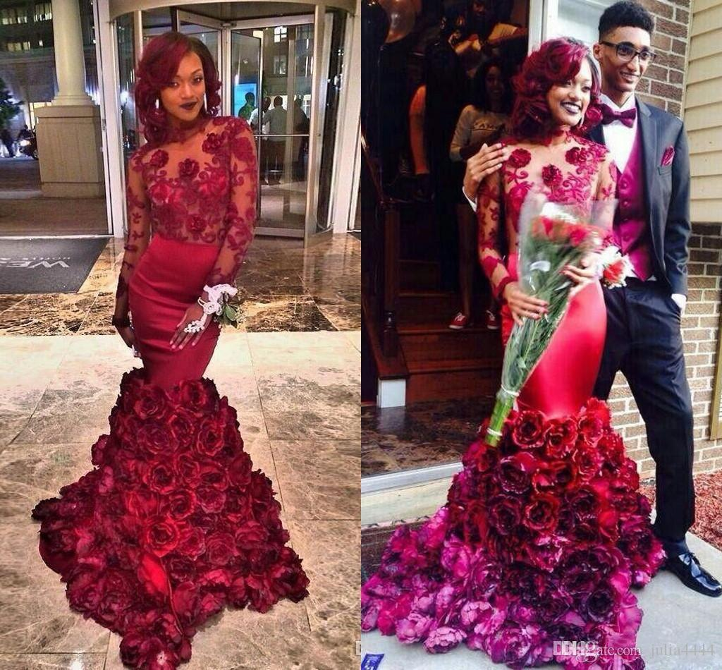 08f6162d3af9 3D Rose Floral Burgundy Long Sleeve Evening Formal Dresses Wear 2017 Sexy  African Plus Size Keyhole Back Mermaid Dubai Prom Gowns Midi Evening  Dresses ...