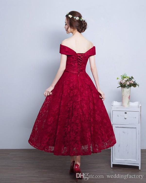 Cheap Tea Length Prom Dresses Dard Red Burgundy Lace A Line Evening Party Gowns Off the Shoulder Short Custom Made Prom Dress