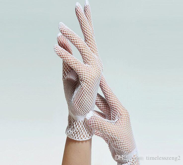 2017 new arrivel Ms choreography gloves Five fingers hollow out fishing nets style gloves Etiquette wedding party supplies