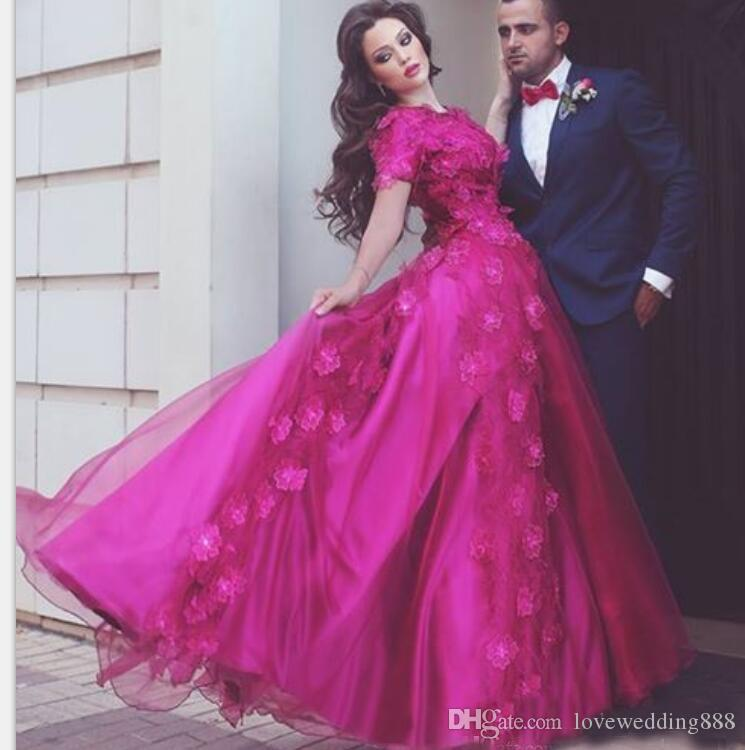 Rose Red A Line Prom Dresses With 3D Floral Jewel Neck Short Sleeves Tulle Satin Saudi Arabic Vestido de renda Evening Gown