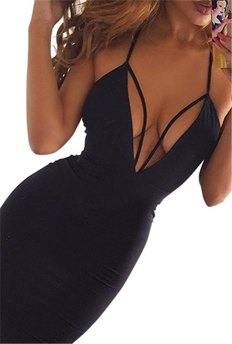 2017 Black Red Sexy Deep V Neck Hollow Out Bodycon Bandage Dress Stretchy Backless Off Shoulder Tight Package Hips Party Dress Casual Dress
