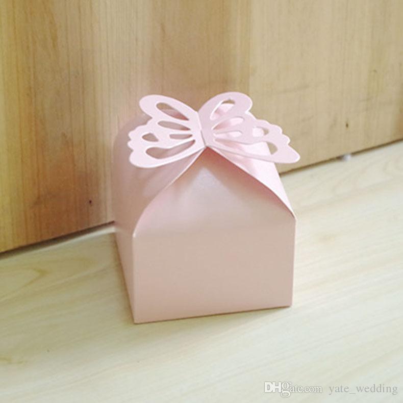 Mais novo Borboleta Caixas De Doces De Casamento Quadrado de Papel Caixas De Presente Do Partido Caixas De Presente Do Casamento Roxo Rosa Branco Amarelo Vermelho Cremoso