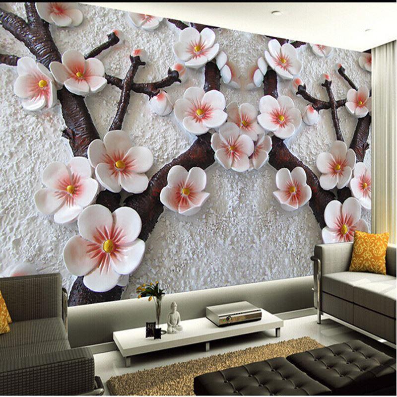 Mural Wallpaper 3d Living Room TV Backdrop Relief Plum Photo Wall Paper High Quality Bu China Retail Su Cheap Print Online