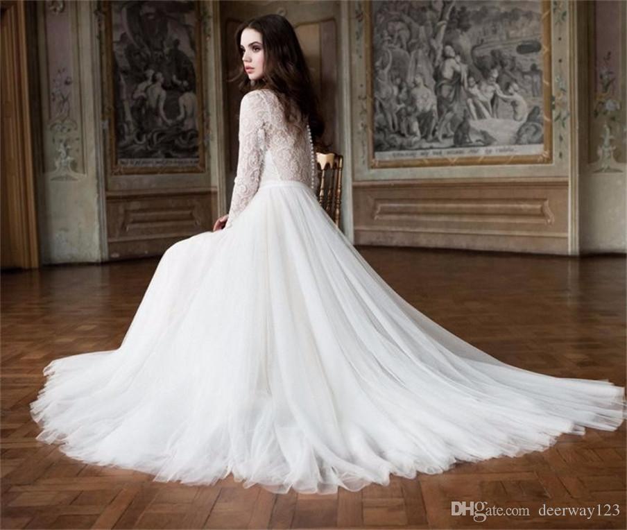 О-образным вырезом Тюль Кружева с длинным рукавом свадебное платье Элегантные платья невесты из тюля Иллюзия Назад Custom Robe de Mariage