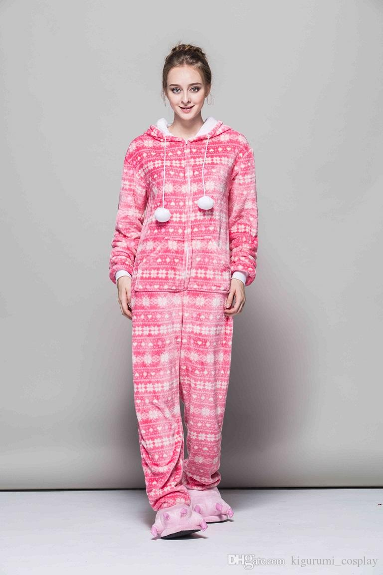40adec100019 Romantic Pink Snowflake Onesies Unisex Flannel Fancy Pajamas Cosplay ...