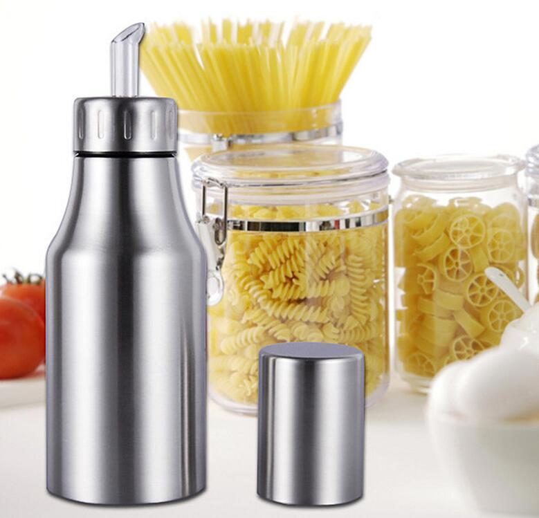 500 ml / 750 ml Aceite de oliva de acero inoxidable botella dispensador aceite Pourer aceite de cocina a prueba de fugas para la salsa de vinagre de oliva herramienta de cocina vinagre