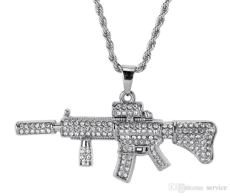 18k Gold Plated Rapper M4 submachellone gun Pendant Necklace 75cm Gold Color HIPHOP New York Men's Pendant necklaces 2017 July Style
