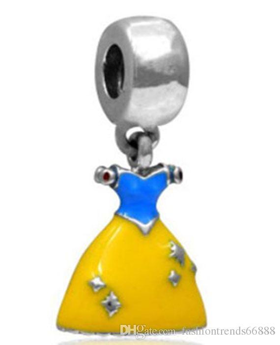 Princess Cinderella Dress Dangle Charms Bead Silver Charms Pendant Big Hole Beads Fit European Charm Pandora Bracelet Jewelry DIY