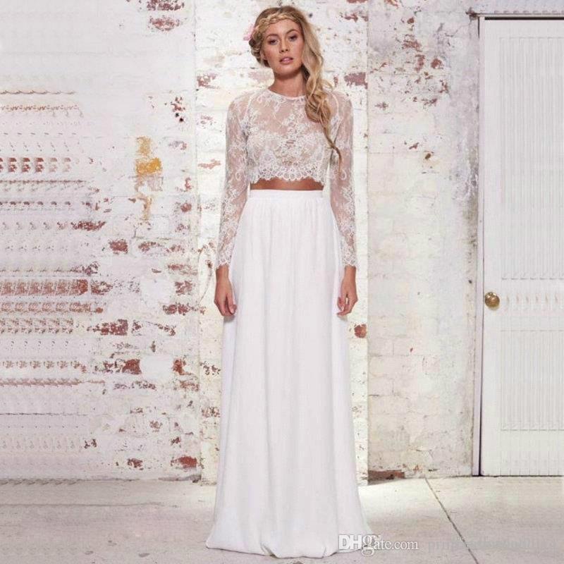 2017 Cheap 2 Piece White Boho Wedding Dress High Quality Chiffon Lace  Summer Beach Bohemian Long Sleeves Bridal Gowns Plus Size