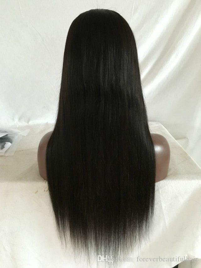 perruque Mongolian Virgin Hair cheveux humain full lace wigs Human Hair Lace Front Wig Silky Straight Glueless Wig