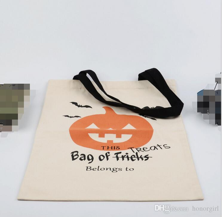 Halloween Grand toile de coton sacs à main en citrouille diable Araignée Imprimé bonbons cadeau Sac du Père Noël Sacs ornements de décorations