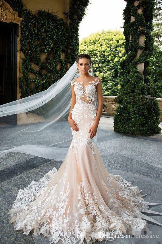 Bröllopsklänningar 2020 Mermaid Sexig Sheer Neck Cap Sleeve Lace Appliques Bodicese Sweep Train Bridal Gowns Vestios De Novia