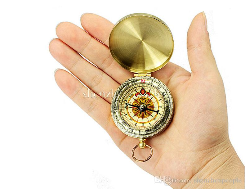 Clássico R1B1 Brass Pocket Watch Estilo Camping Compass Caminhadas