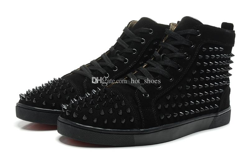 High Top Studded Spikes Black Suede Leather Red Bottom Shoes For Men