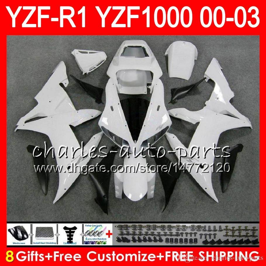 8Gift Body For YAMAHA YZF R1 YZF 1000 YZFR1 02 03 00 01 62HM19 gloss white YZF1000 R 1 YZF-R1000 YZF-R1 2002 2003 2000 2001 Fairing