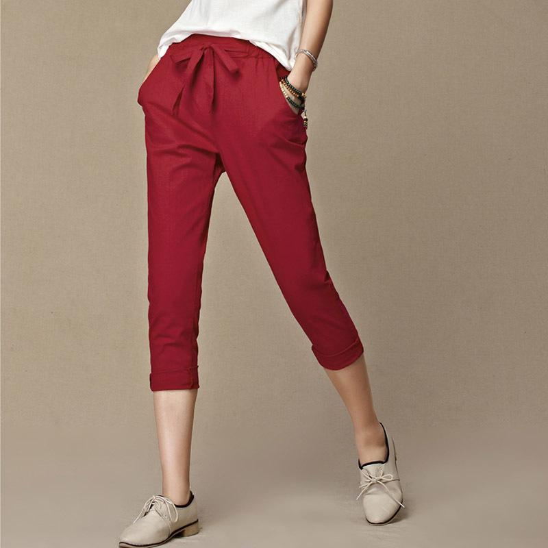 Las mujeres suelto de algodón de la vendimia de lino con cordón femenino recorta los pantalones pantalones de algodón de color puro Capris Harem pantalones