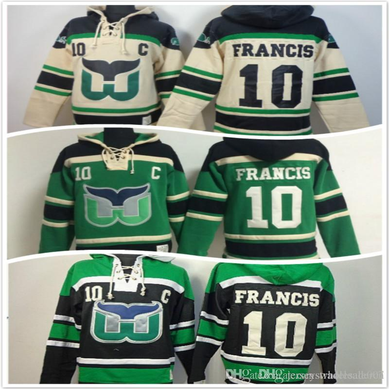 Hartford Whaler Hoodies 10 Ron Francis Ice Hockey Hoody Sweatshirts Beige  Green UK 2019 From Jerseyswholesale007 db6cd78fe