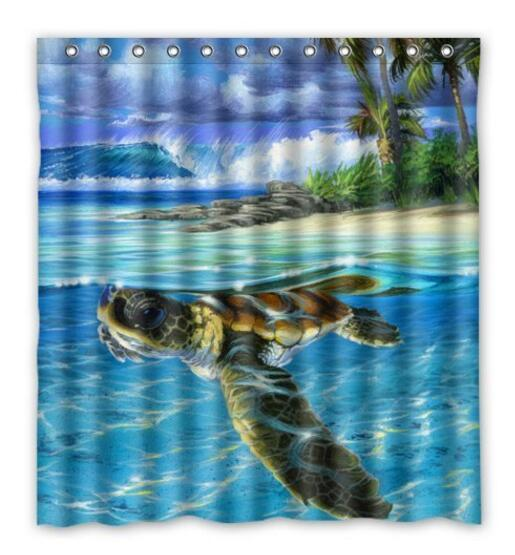 Best Funny Sea Turtle Shower Curtain Rings Included 100 Polyester Waterproof 66 X 72 Bath Bathroom Accessories Movie Curtains