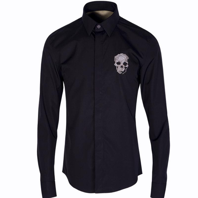 Extrêmement 2018 Wholesale Luxury Men Shirt Chemise Homme Fashion 3d Skull  GJ95