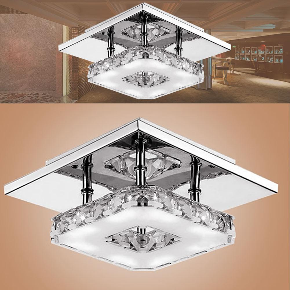 Modern led ceiling light square crystal lustre luminarias para sala led lamps for home aisle corridor balcony kitchen fixtures led ceiling light ceiling