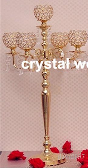 Канделябры шарика венчания мычки 5 рукояток кристаллические для украшения венчания