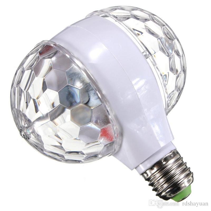 3W B22 E27 LED Colorful Rotating RGB LED Stage Light Party Effect Light Magic Double Balls Colorful LED KTV Bar DJ Disco Lights