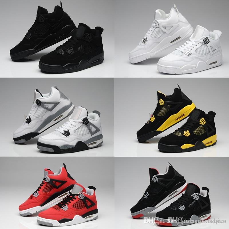 775da31f78dbfb High Quality Basketball Shoes 4 Men Women 4s Pure Money Royalty Black White  Cement Bred Military Blue Sports Sneakers With Shoes Box Sneakers Sports  Shoes ...