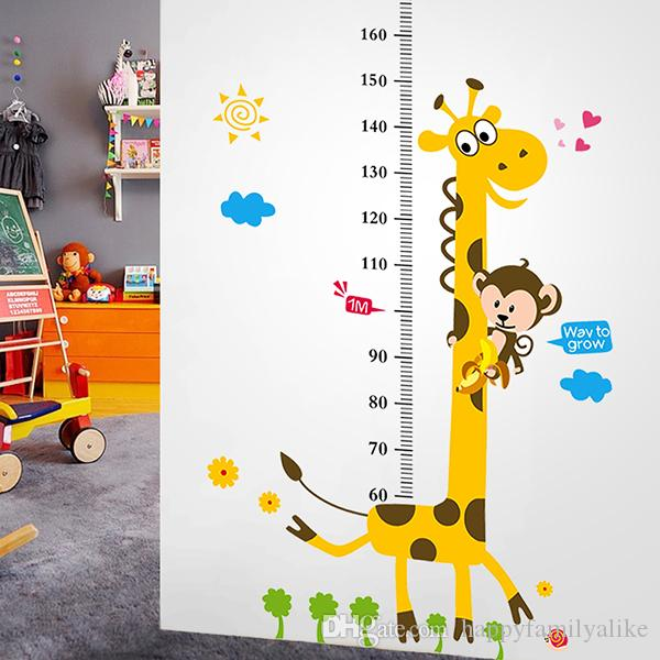 Wall Stickers For Kids Rooms Cartoon Giraffe Animals Pvc Wall Stickers Eco  Kindergarten Kids Bedroom Height Chart Wall Decals Decals For The Home  Decals For ... Part 53