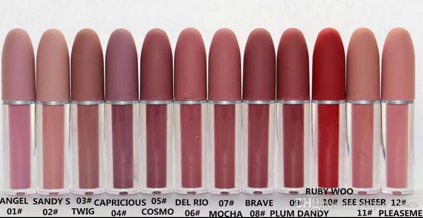 Ücretsiz kargo! 2017 Yeni Marka Makyaj Cilası Lipgloss / Rouge / Ruj 4.5G 12 Farklı Renk 12 adet / grup