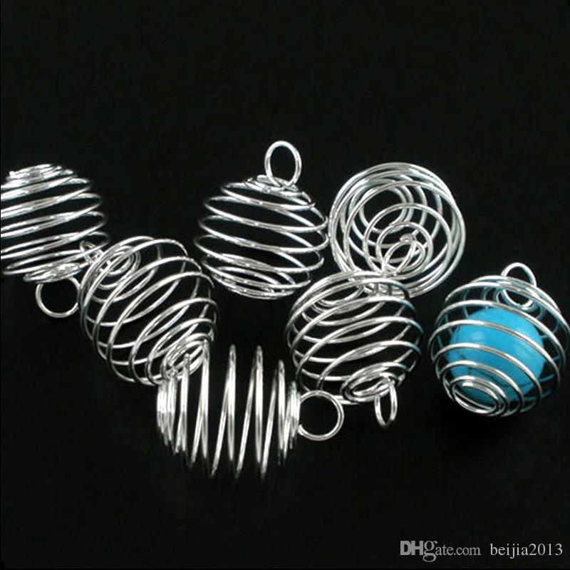 Cages de perles en spirale argentées Pendentifs Pendentifs 29x24mm Constatations de bijoux Faire bricolage /