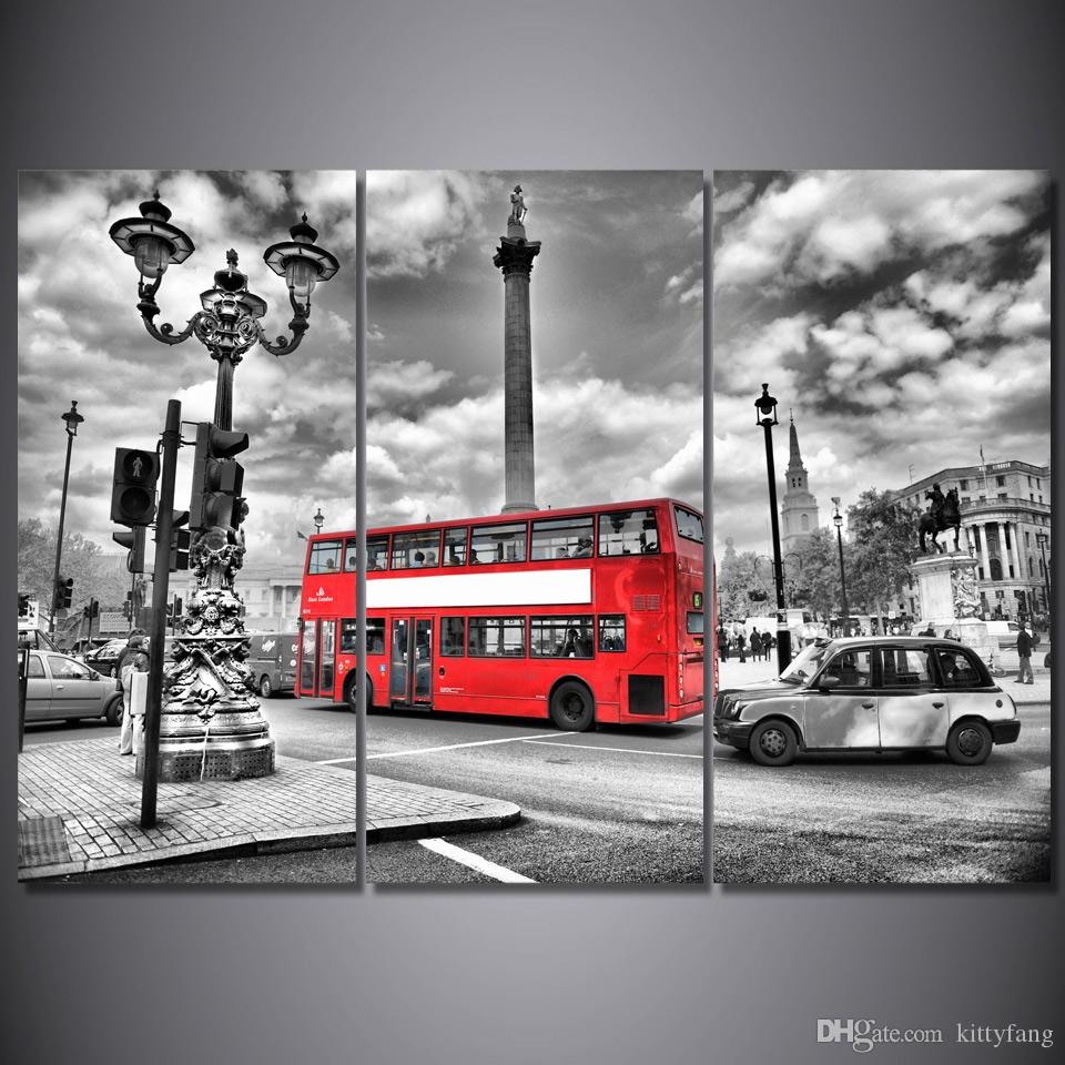 Framed HD Printed London Red Bus Street Picture Wall Art Canvas Print Decor Poster Canvas Modern Oil Painting