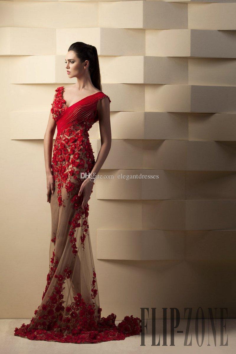 Custom Made Yeni Toumajean Abiye 2017 Kırmızı Mermaid Kırmızı Gelinlik Modelleri Artı Boyutu Boncuklu Çiçekler Tül Parti Abiye Resmi Elbiseler