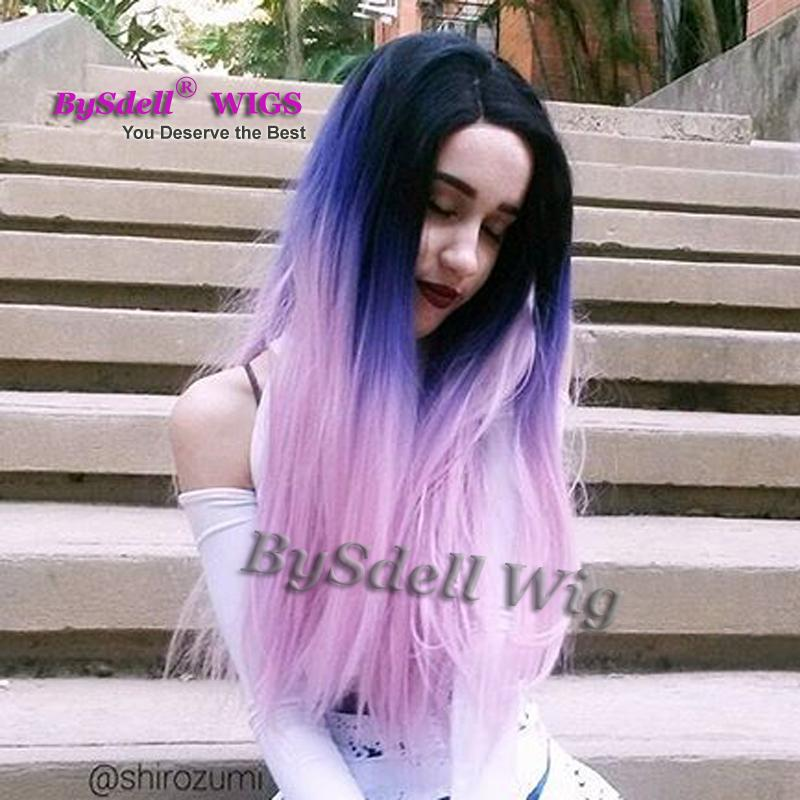 Beauty Ombre Color Wig Heat Resistant Black Teal Blue Pastel Purple Color Hair Lace Front Wig Long Body Wave Full Lace Front Wigs