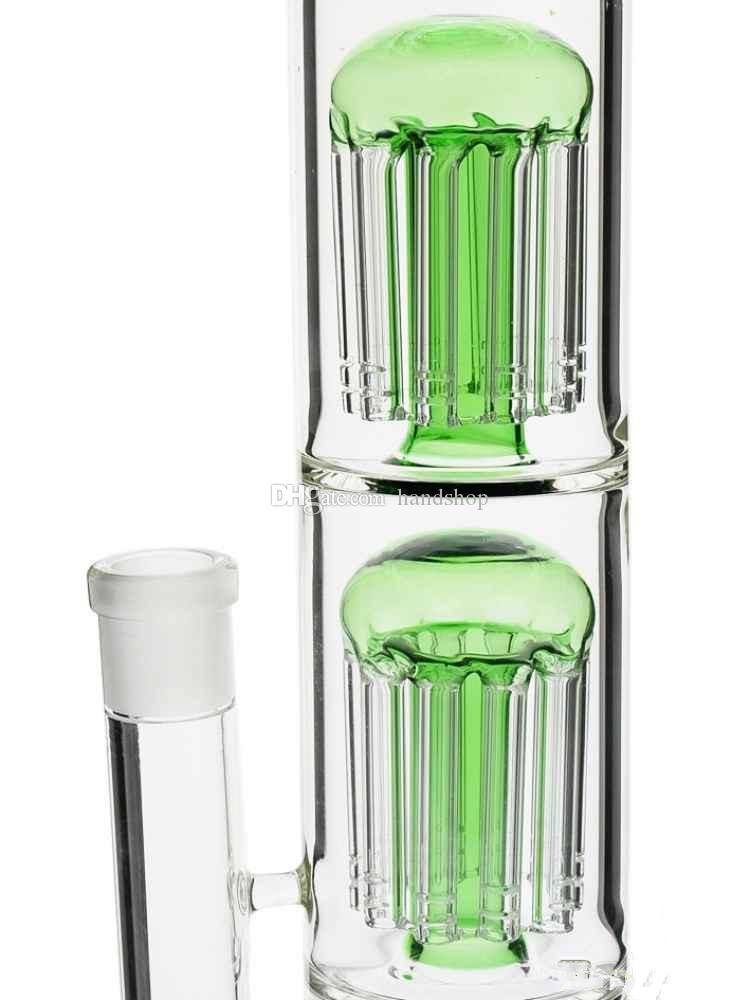 Wholesale Glass Bong 18.8mm joint two layer 8-arms dome perculator Green/Bule color Random