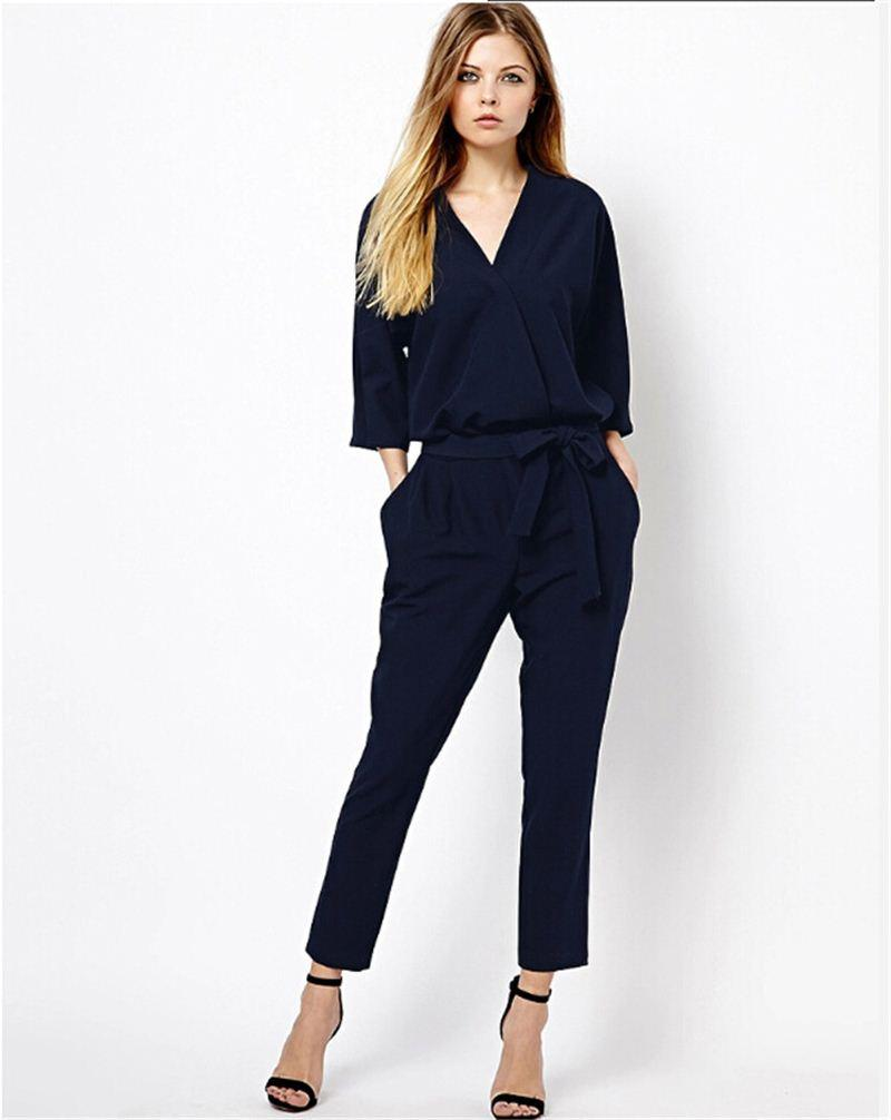 2017 Women Jumpsuits Fashion Half Sleeve Rompers Slim Fit Spring ...