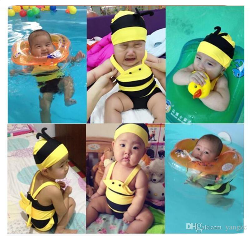 2016 New baby Swimwear boys Girls Cute Little Bees Bathing Suit Kids One Piece Cartoon Swimming Suit Baby Swimwear QT025